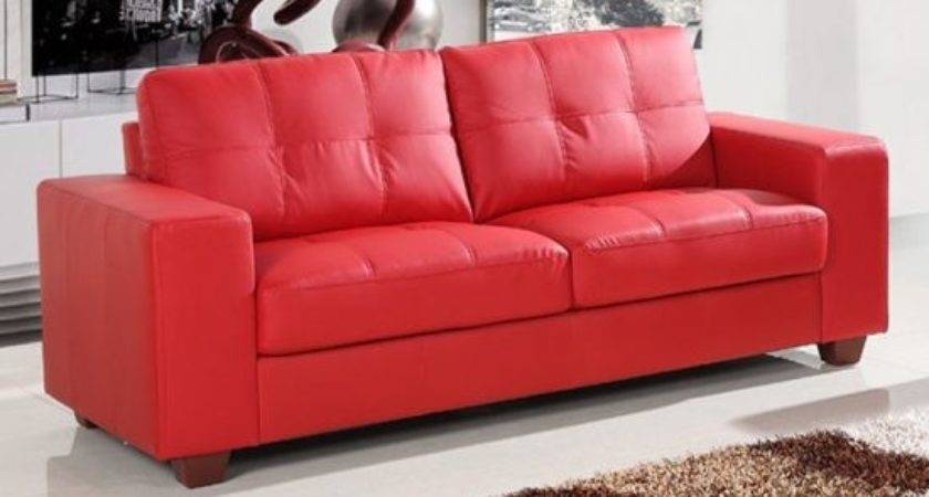Small Red Leather Sofas Vibrant Living Area
