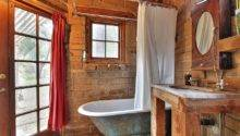 Small Rustic Bathroom Weathered Bathtub Brick
