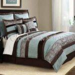Soho Cool Aqua Blue Brown Queen Comforter Set