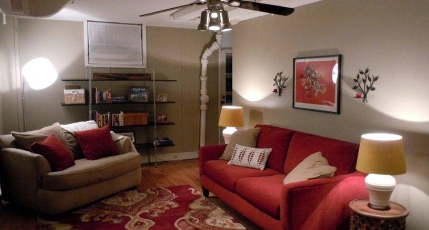 Special Red Beige Living Room Decor Interior Design
