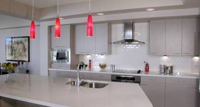 Splendid Pendant Lighting Over Kitchen Island Red