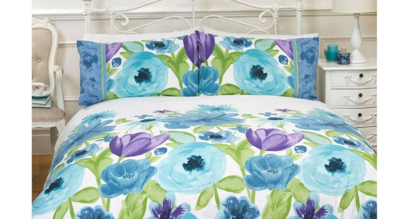 Spring Flower Duvet Cover Hand Painted Floral Effect
