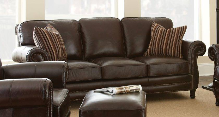 Steve Silver Company Chateau Chocolate Brown Leather Sofa