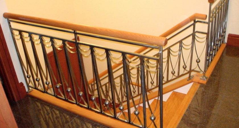 Stone Wood Steel Interior Railing Traditional