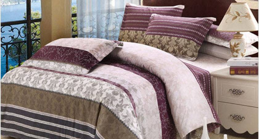 Striped Purple Brown Grey Duvet Cover Cool Style