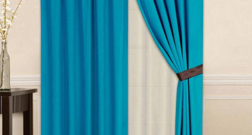 Striped Solid Modern Curtain Set Turquoise Brown
