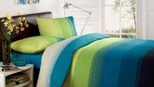 Studio Lime Green Teal Blue Striped Duvet Quilt Cover