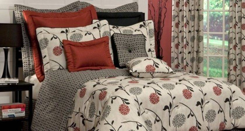 Stylish Red Black Gray Transitional Floral Design