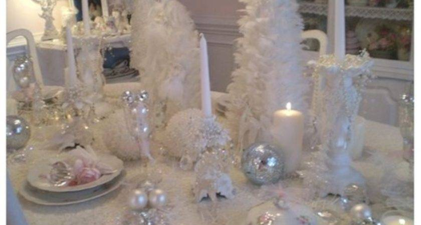 Stylish Silver White Christmas Table Centerpieces