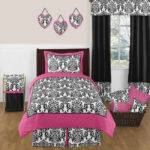 Sweet Jojo Designs Pink Black White Damask Twin Teen