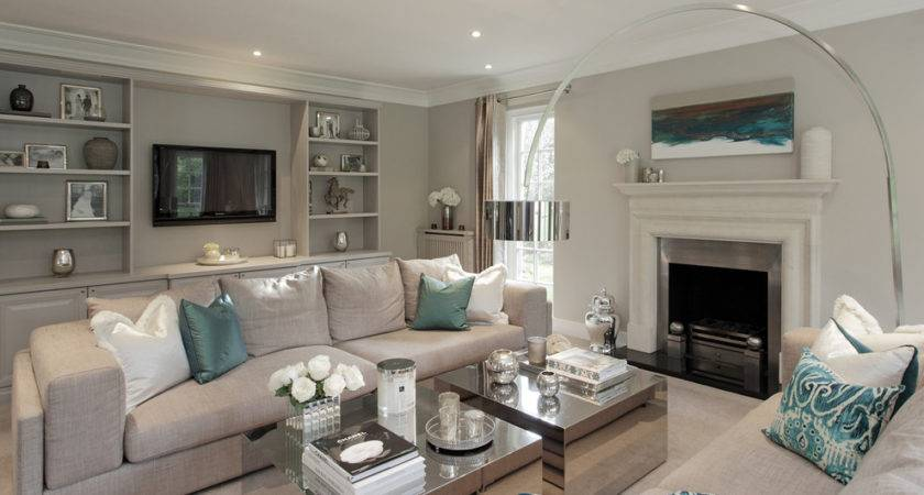Teal Accent Living Room Transitional