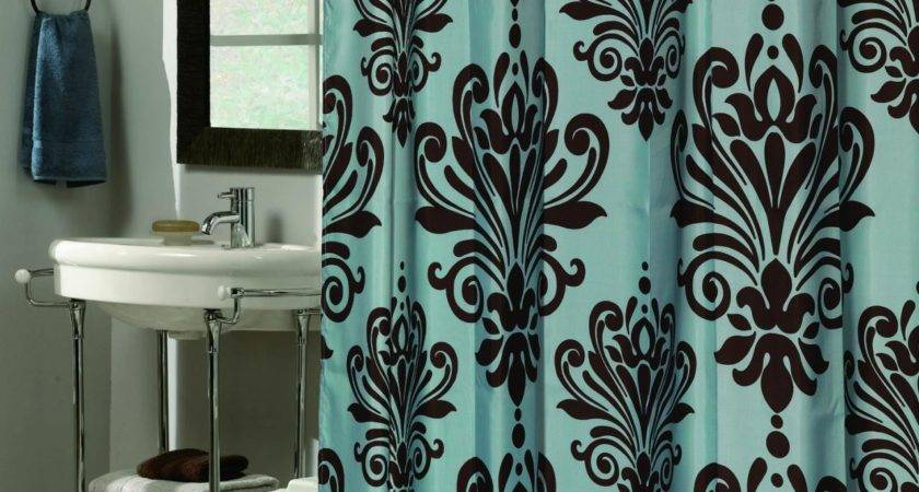 Teal Brown Shower Curtain