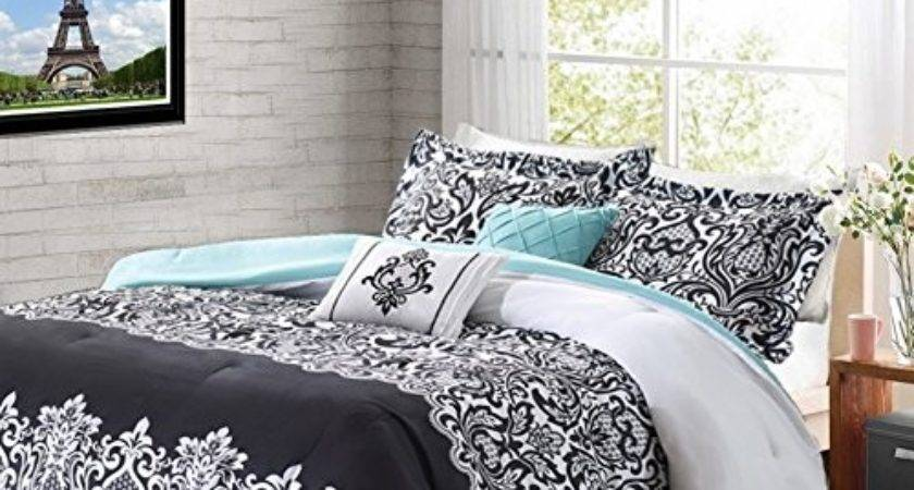 Teen Girl Comforter Sets Teal Black White Damask Bedding