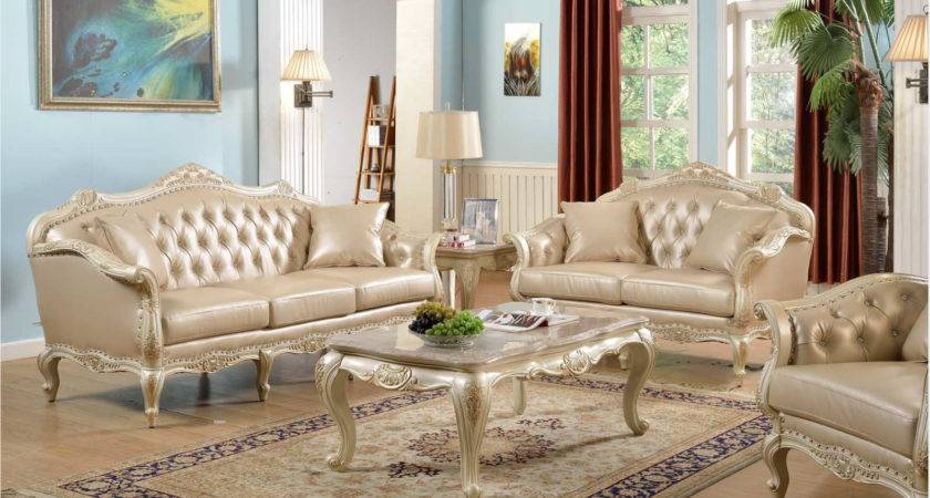 Traditional Antique White Formal Sofa Set Nail Head