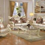 Traditional Living Room Set Pearl Bonded Leather