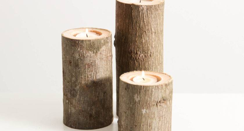 Tree Branch Candle Holders Set Heights Rustic Wood