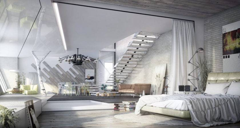 Trendy Industrial Bedroom Design Gray White Color