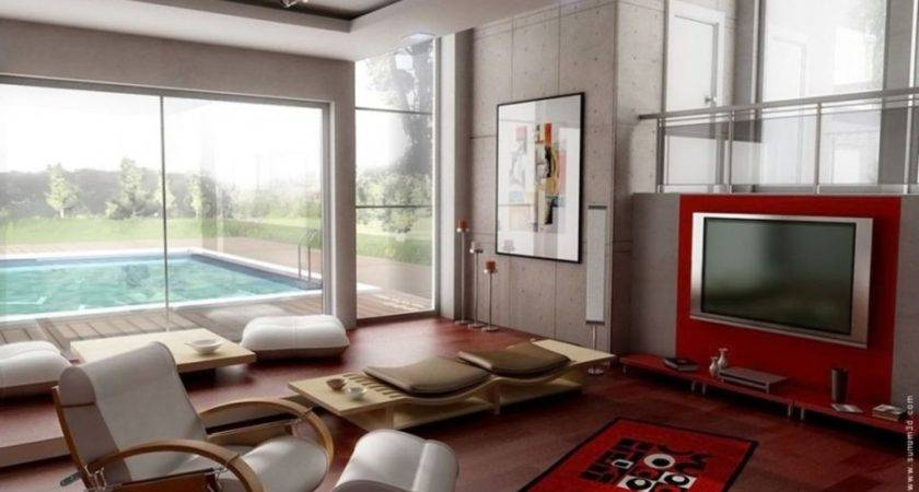 Trendy Modern Living Room Wall Units Vibrant Red