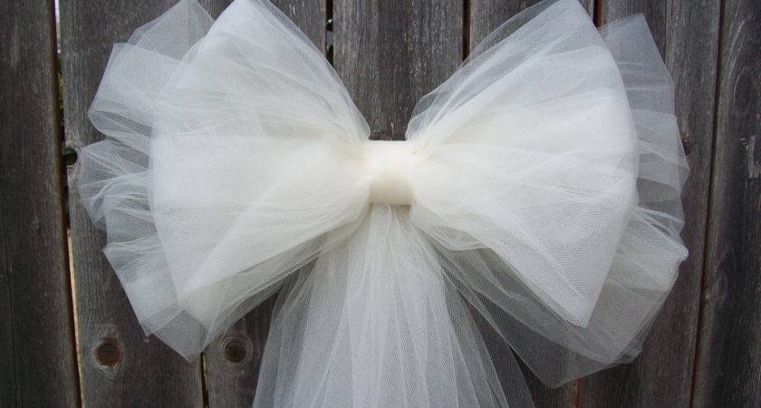 Tulle Pew Bow Over Colors Church Decor
