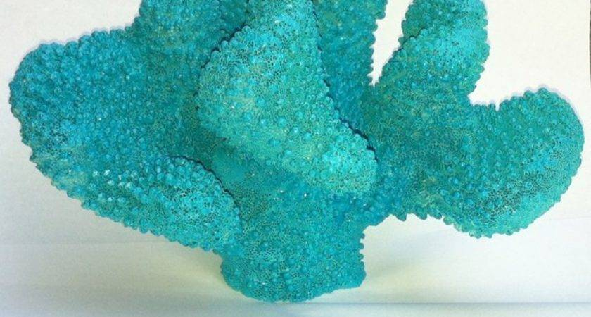 Turquoise Blue Coral Branch Coastal Home Decor