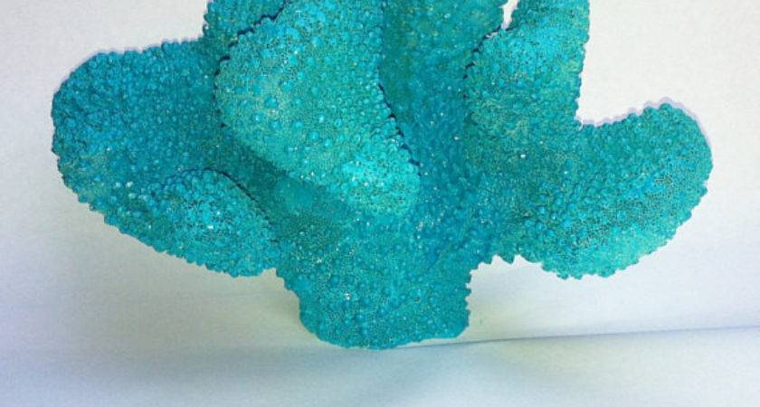 Turquoise Blue Coral Branch Nautical Beach Decor Nakhome