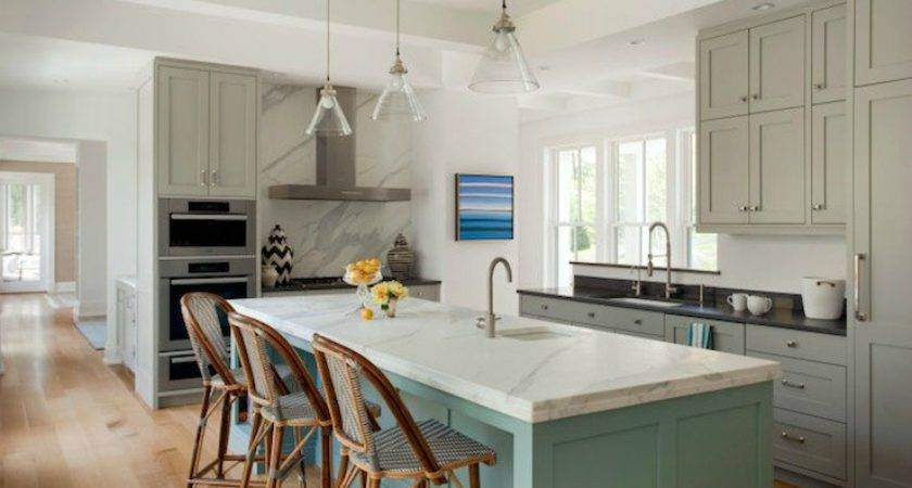 Turquoise Cabinets Contemporary Kitchen Elle Decor