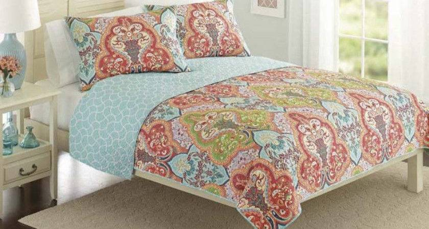 Turquoise Coral Tropical Beach Damask Queen Quilt