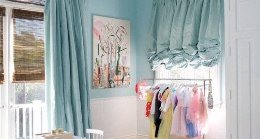 Turquoise Drapes Contemporary Girl Room Windsor