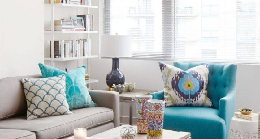 Turquoise Grey Living Room Modern Style Home Design