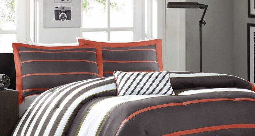 Twin Comforter Set Dark Gray Orange White