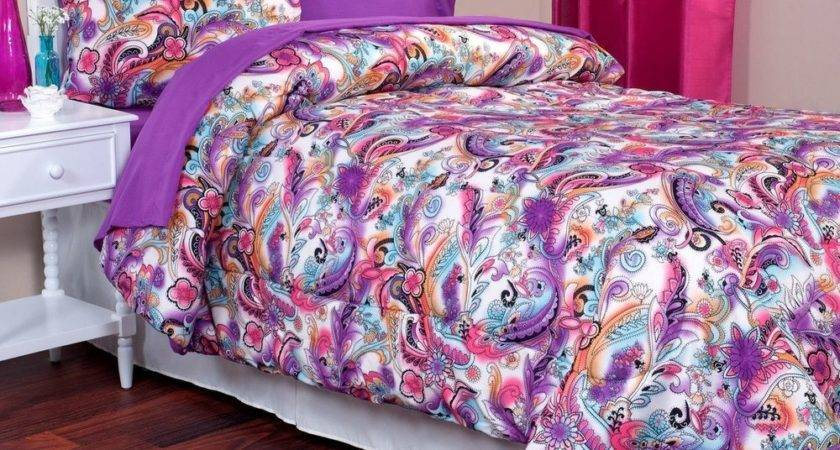 Twin Comforter Sham Bright Colorful Paisley