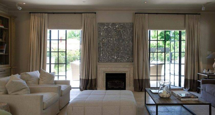 Two Tone Curtains Transitional Living Room Marco