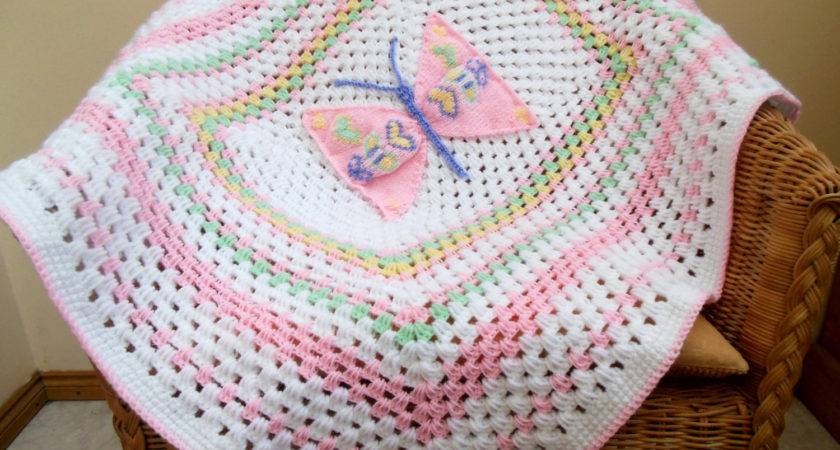 Unique Design Baby Blanket Crochet Afghan Butterfly