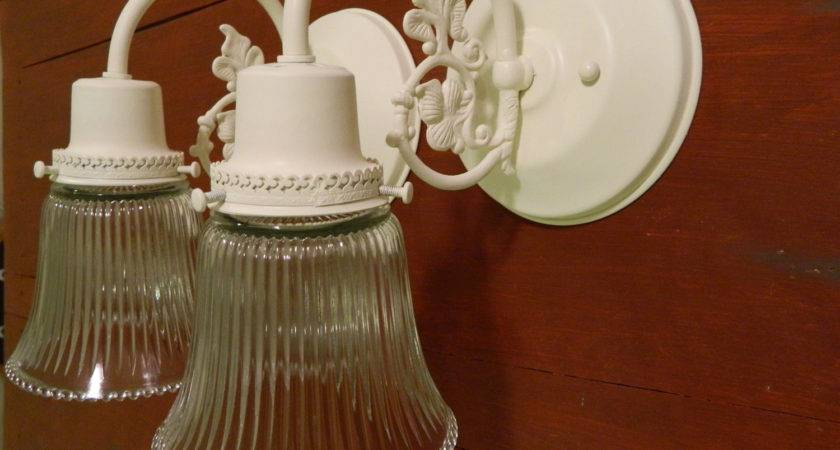 Upcycled Pair Cream Shabby Chic Ornate Wall Sconces