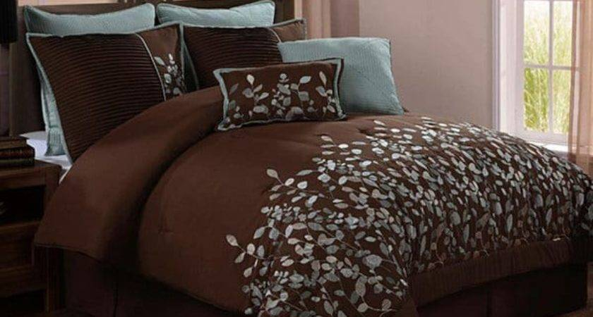 Vcny Embroidered Leaves Piece Chocolate Brown Comforter