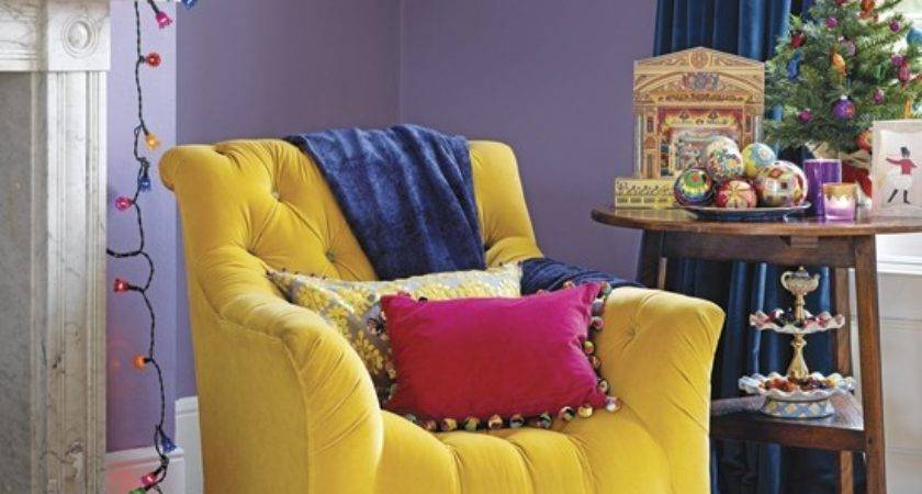 Vibrant Purple Yellow Living Room Decorating