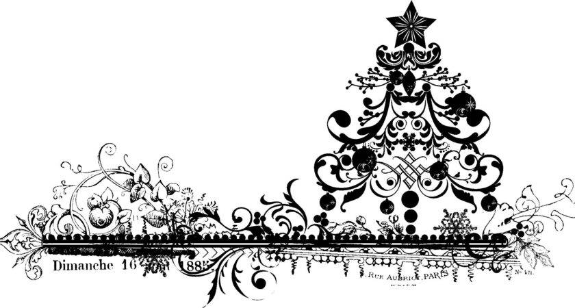 Vintage Black White Christmas Clip Art