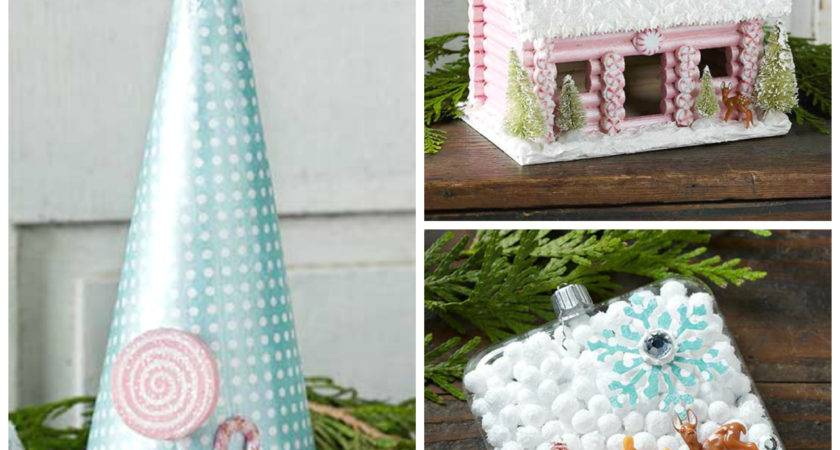 Vintage Christmas Crafts Using Collage Clay Fake Snow