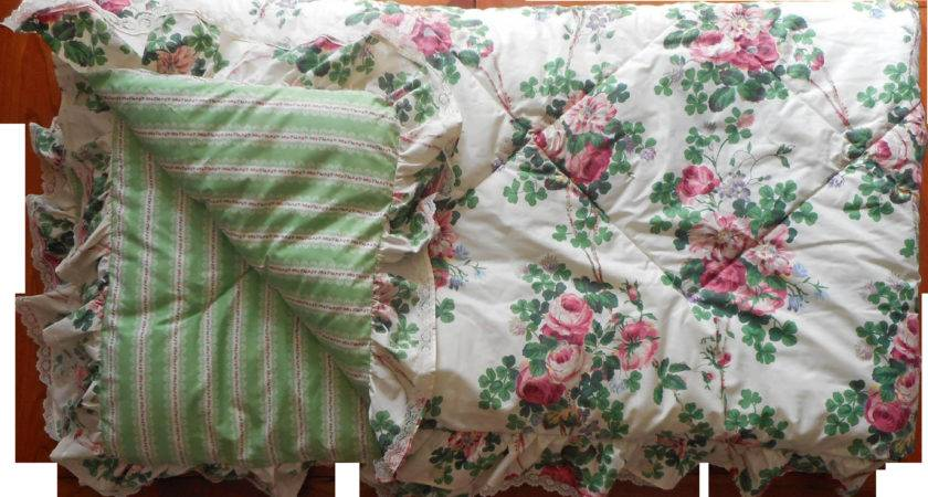 Vintage Laura Ashley Comforter Chintz Roses Ruffle Lace