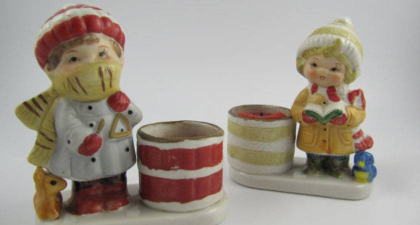 Vintage Little Luvkins Candle Holders Christmas Set