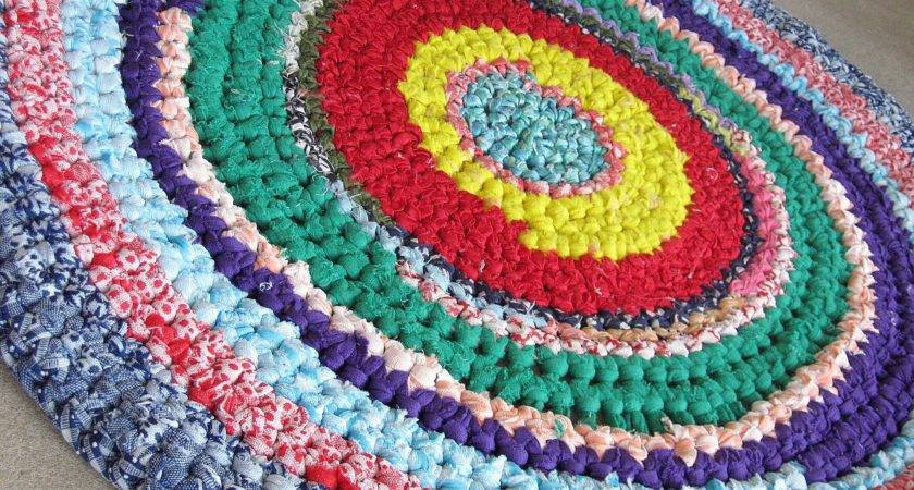 Vintage Rag Rug Estate Primary Colors Inches Round