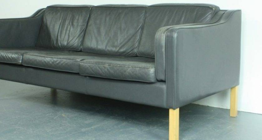Vintage Seater Sofa Charcoal Gray Leather Sale