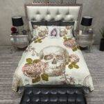 Vintage Style Skull Rose Bedding Cream Ink Rags