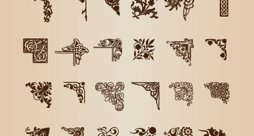 Vintage Vector Graphics Floral Borders Corners