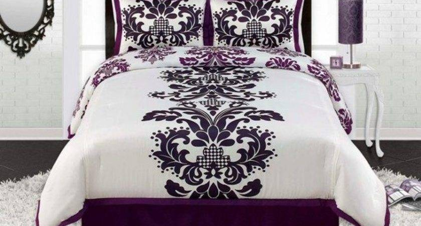 Viola Black White Purple Contemporary Damask Comforter