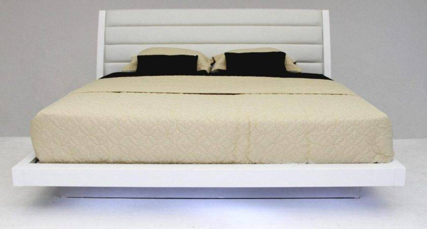 Volterra Contemporary White Lacquered Floating Bed