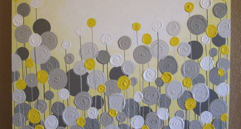 Wall Art Designs Yellow Gray Grey