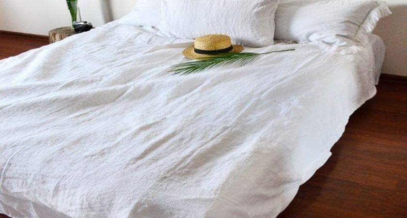 Washed French Pure Linen Duvet Cover King Natural Bed