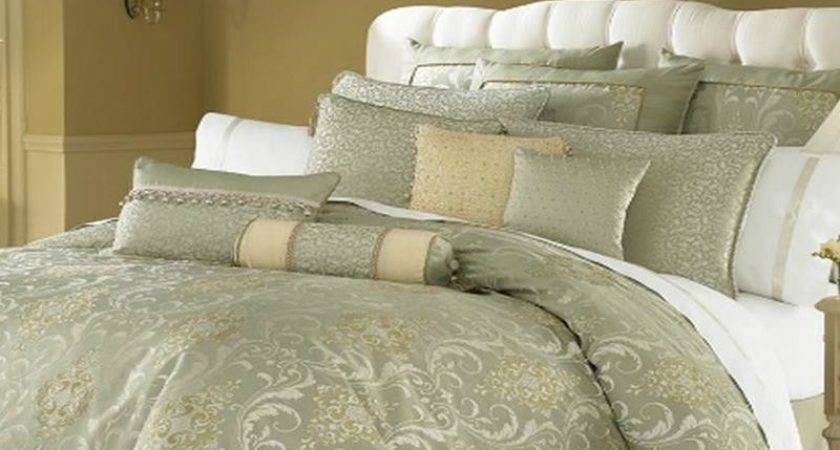 Waterford Linens Venise King Comforter Sage Gold Cream Ebay