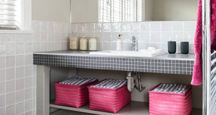 White Bathroom Pink Black Accents Decorating